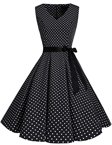 Bridesmay neck '50 Vintage Cocktail Vestito Anni Audrey Black Small White Abiti Donna V Dot Retro 4jL5c3ARq