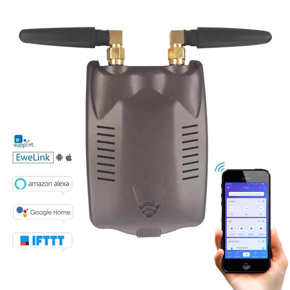 EACHEN RF Bridge WiFi-315/433 Wireless Smart Home Hub Curtain Blinds Garage Door Remote Controller Works With Ewelink Alexa Google Home IFTTT SONOFF RM-DC34