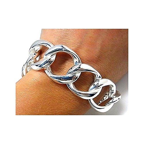 Bracelet 925m argent droit lisse 20cm. poignées de galvanoplastie [AB1726]