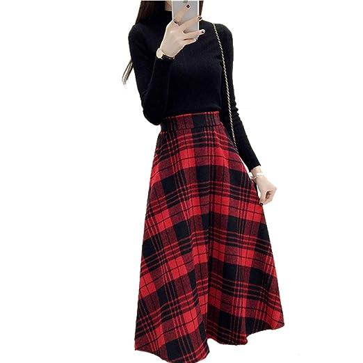 HAITAO Faldas De Mujer Otoño E Invierno Faldas A Cuadros Retro ...