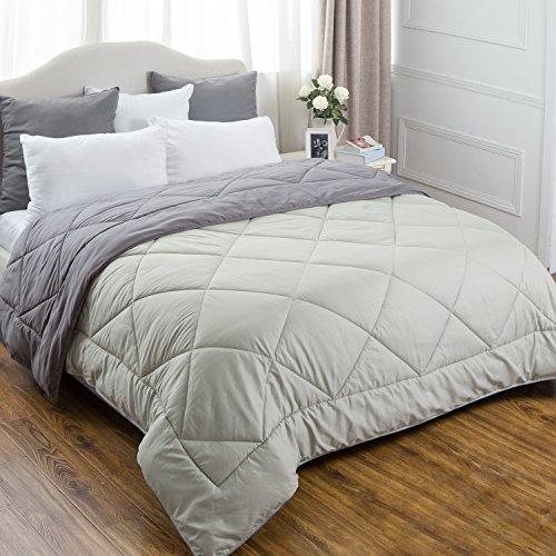 Bedsure Full/Queen Reversible Comforter Duvet Insert with Corner Ties-Quilted Down Alternative Comforter Diamond Stitching Design Smoky Grey/Light Grey 88″x88″