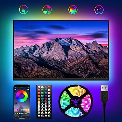 USB Tiras LED TV 3M,WOANWAY RGB Luces LED para TV con 16 Millones Colores,Bluetooth LED Tiras con Musica Modo/Control de Voz y App/44 Teclas Control Remoto,LED Television para 40-60in HDTV/PC