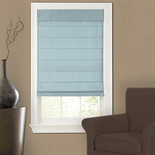 Faux Silk Roman Shade Light Blue 23x64