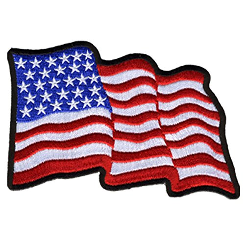 Hot Leathers, WAVY U.S. FLAG, High Thread Embroidered Iron-On / Saw-On Rayon PATCH - 4