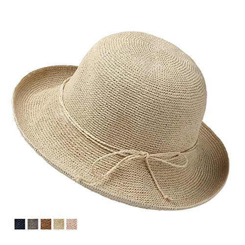 4fd5f24a22f Naomitime Foldable Handmade Paper Straw Hat Beach Sun Hats For Women and  Girls – Gift Package