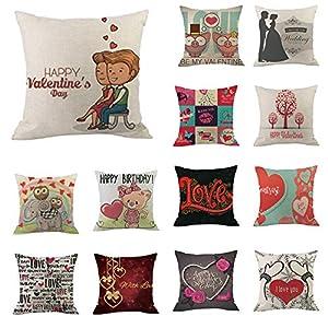 XOWRTE Decorative Cushion Happy Valentine Cotton Linen Throw Pillow Cover Pillowcase Sofa Home Decor