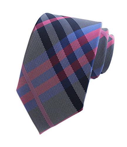 Blue Narrow Ties Silk (Secdtie Men's Navy Rose Grey White Jacquard Woven Silk Tie Evening Necktie YUE13)