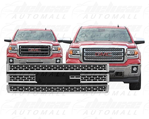 DeluxeAuto Chrome Grille Overlay (4 Pieces Kit) is compatible with 2014 2015 GMC Sierra 1500 (Base, SLT, SLE) - Grille Overlay 4 Piece