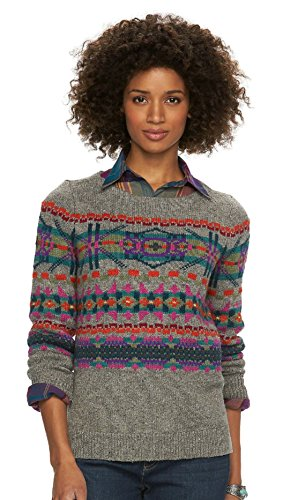 Chaps Women's Fairisle Crewneck Sweater, Grey Multi hot sale