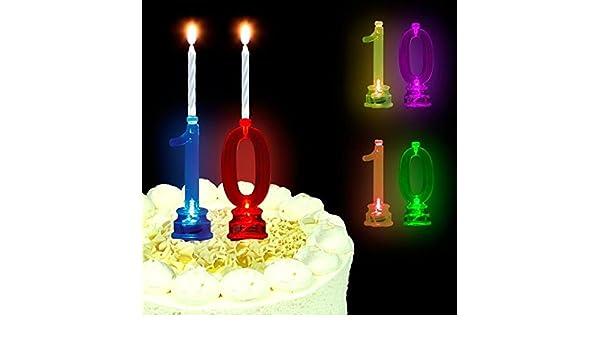 Juego de soporte velas de LED de números 1 & 0 con velas de ...