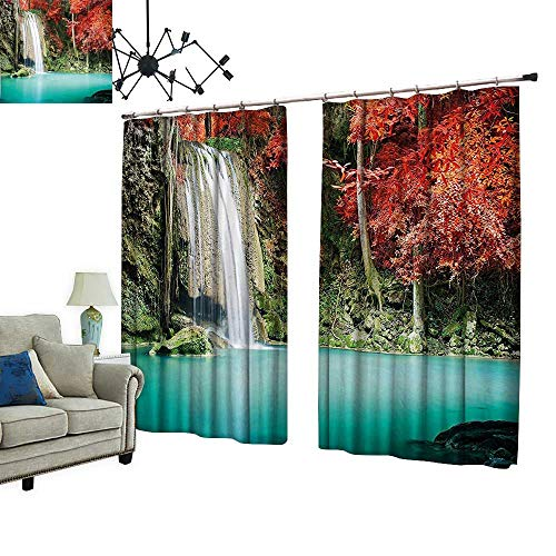 PRUNUS Thermal Insulated Blackout Curtain with hookSingle Waterfall in Corner of The Deep Forest with Fair Fall Oak Trees Reduce Noise Pollution,W72 xL72 -