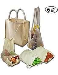 Simple Ecology Organic Reusable Farmers Market Shopping Bag Gift & Starter Set of 6 Bags