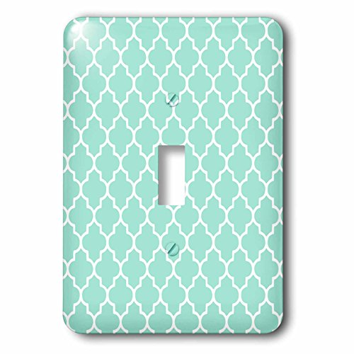 3dRose lsp_120256_1 Mint Quatrefoil Pattern Light Teal Turquoise Moroccan Tiles Pastel Aqua Blue Clover Lattice Single Toggle Switch - Turquoise Wall Tile