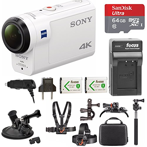 Sony FDR-X3000 4K Action Cam w/ 64GB microSD Card & Action Cam Accessory Bundle