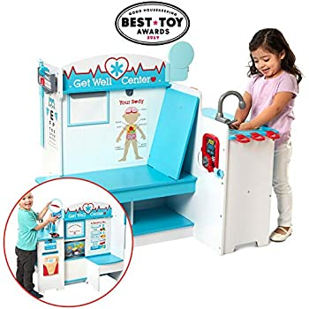 Melissa Doug Wooden Get Well Doctor Activity Center Waiting Room Exam Room Check In Area