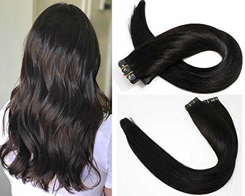 SeaShine Tape in Hair Extensions #1B Naturl Black 100% Remy Human Hair Extensions Silky Straight for Fashion Women 20 Pcs/Package(22Inch #1B 60g)