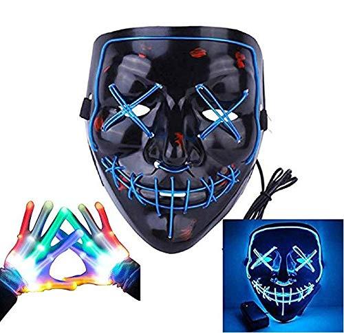 Led Mask& Gloves, Light up Purge Mask and Flashing Skeleton Gloves, Costume Kit for Festival/Party/Cosplay