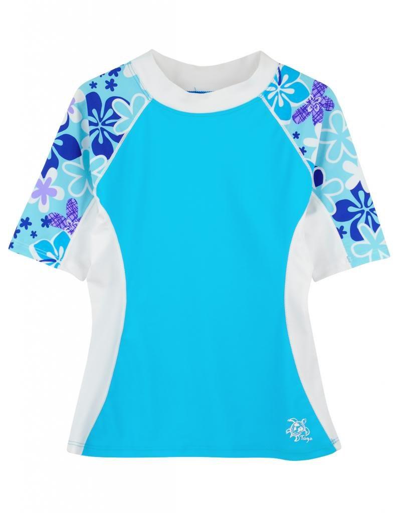 Tuga Girls Short Sleeve Rash Guard Children 1-14 Years Sun Protection Swim Shirt UPF 50