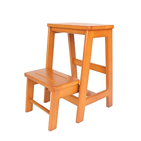 Amazon.com: Escalera de madera maciza plegable de 2 pasos ...