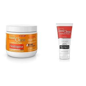 Neutrogena Rapid Clear Acne Face Pads with Salicylic Acid Acne Treatment Medicine to Fight Face Breakouts, 60 ct and Neutrogena Rapid Clear Stubborn Acne Face Wash, 5 Fl Oz