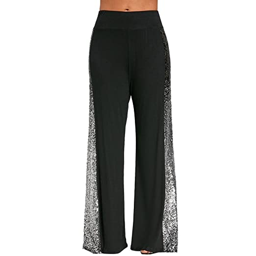 27258bb19d6 Amazon.com  vermers Womens Pants Clearance Sale Fashion Womens Casual Wide  Leg Pants Gradient Sequin Insert Maxi Trousers  Clothing