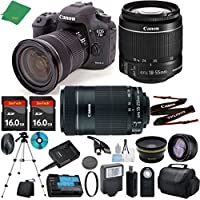 Canon EOS 7D Mark II with 18-55mm IS STM + 55-250mm IS STM + 2pcs 16GB Memory + Case + Memory Reader + Tripod + ZeeTech Starter Set + Wide Angle + Telephoto + Flash + Filter