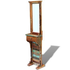 Festnight- Miroir en Verre de Couloir Bois avec tiroir