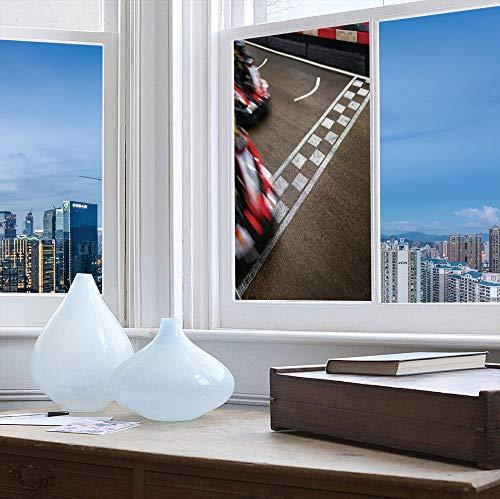 (YOLIYANA Stained Glass Window Film,Man Cave Decor,for Bathroom Shower Door Heat Cotrol Anti UV,Crossing Finish Line Motor Racing Track Recreational Pursuit,24''x48'')