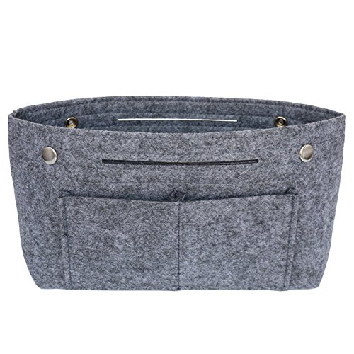 Handbag Liner - VANCORE Felt Insert Purse Organizer Handbag Cosmetic Travel Bag for Women Dark grey Large