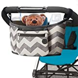 Premium Baby Stroller Organizer with Two Multifunctional Stroller Hooks for Parents On the Go (Grey White)