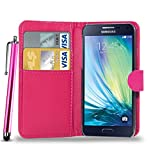 N+ INDIA SAMSUNG GALAXY A8 PINK LEATHER WALLET FLIP CASE COVER POUCH FOR SAMSUNG GALAXY A8 With Touch Stylus Pen