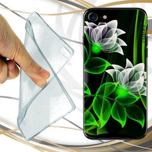 CUSTODIA COVER CASE GREEN FLUO FLOWER PER IPHONE 8