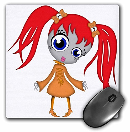 (3dRose Blonde Designs Happy and Haunted Halloween - Halloween Creepy Redhead Girl in Orange Dress - MousePad)