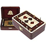 Cribbage Board with Playing Cards Wood Inlaid Symbols Storage Box - 2 Tracks in Maple / Bloodwood 60 Points - Cribbage Board Store by House of Cribbage