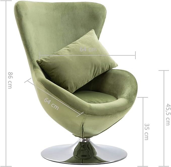 vidaXL Fauteuil Pivotant en Forme d'Oeuf avec Coussin Siège de Salon Chaise de Chambre à Coucher Salle de Séjour Intérieur Maison Vert Clair Velours