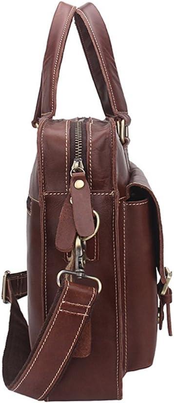 Brown GAIXIA Mens Business Briefcase Fashion Tote Leather Shoulder Crossbody Bag 39x28x8cm Briefcase
