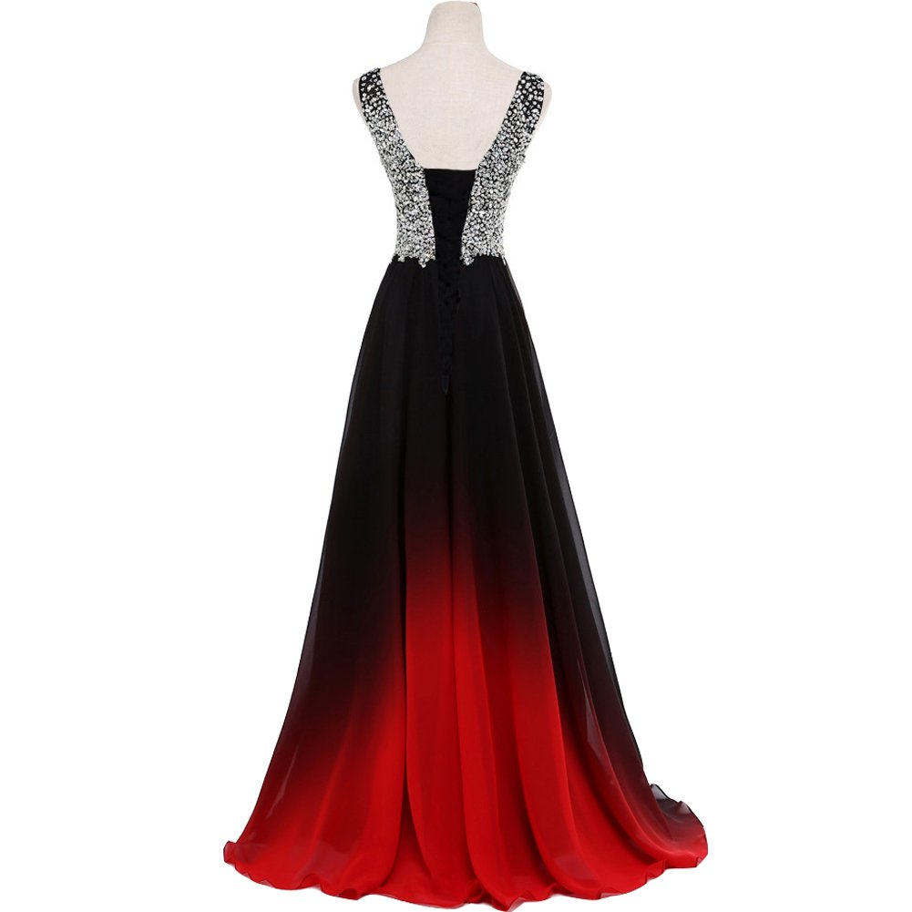 Lemai Women Formal Beaded Gradient Black Ombre Chiffon Long Prom
