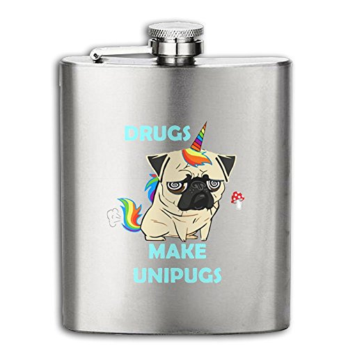 [Drugs Make Unipugs Unicorn Pugs Flasks Stainless Steel Liquor Flagon Retro Rum Whiskey AlcoholPocket Flask Liquor Flagon Retro Rum Whiskey Flask Great Gift 8OZ Lightweight] (Drug Test Costume)