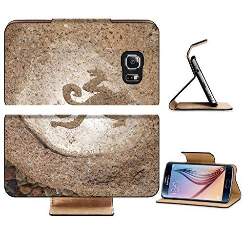 Luxlady Premium Samsung Galaxy S6 Edge Flip Pu Leather Wallet Case IMAGE ID 2861447 Monkey primitive art draving on stone Ancient Graffiti Replacement