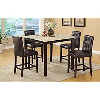 Amazon - pcs Marble Top Counter Height Dining Table