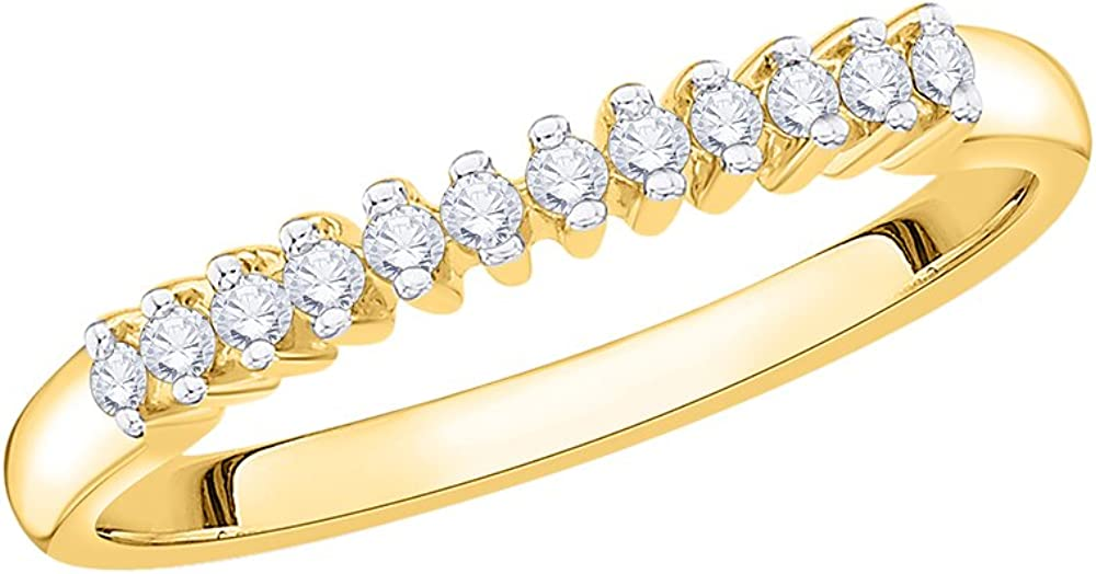 Size-4.25 Diamond Wedding Band in 10K Yellow Gold G-H,I2-I3 1//10 cttw,