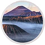 Pixels Round Beach Towel With Tassels featuring ''Mount Bromo - Java'' by Joana Kruse
