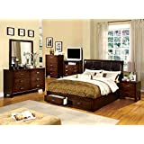 Carltoun Leather PU Storage 5 Piece Queen Bed  2 Nightstand Dresser Mirror Espresso Amazon com 7 Pieces Bedroom Sets Furniture Home