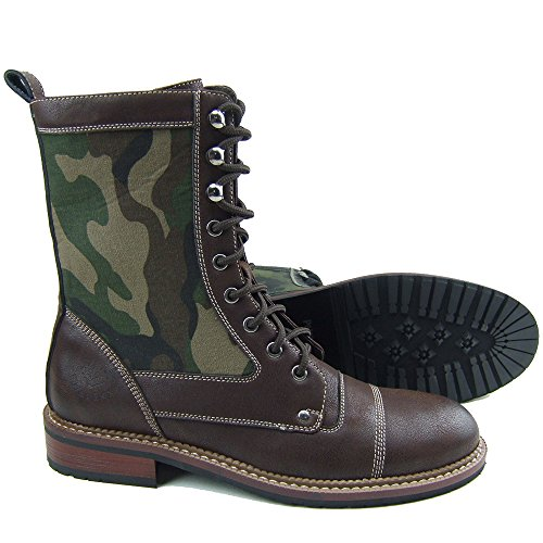 Polar Fox MPX-801025A Brown Mens Military Camouflage Lace Up Combat Work Desert Ankle Boot w/ Leather Lining (10)