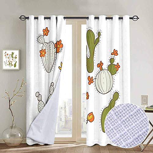 NUOMANAN Thermal Insulated Blackout Curtain Cactus,Cute Doodle Cacti with Flowers Exotic Western Nature Cartoon Style Succulent Growth,Multicolor,Blackout Draperies for Bedroom Living Room 54