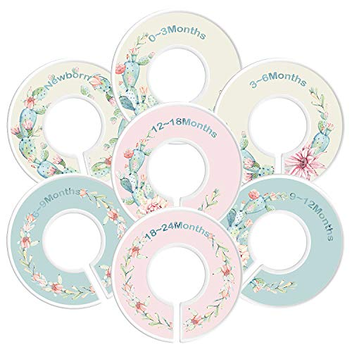 Baby Closet Dividers By Hombae– Set Of 7 Double-Sided Pattern Closet Dividers Sized From Newborn To 18-24 Months– Perfect Nursery Décor & Closet Organizer For Baby Boy & Girl– Unique Succulent