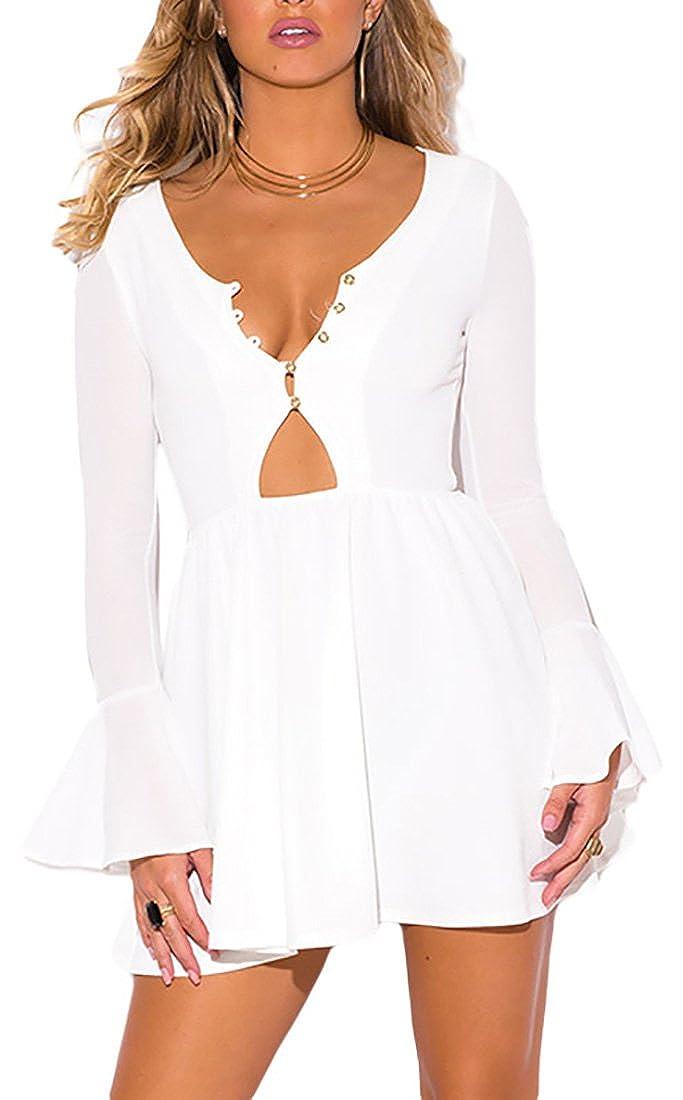 1cba3ca15a83 MYWY - Abito corto donna vestito mini donna manica lunga campana elegante  sexy estate cinghia posteriore  Amazon.it  Abbigliamento