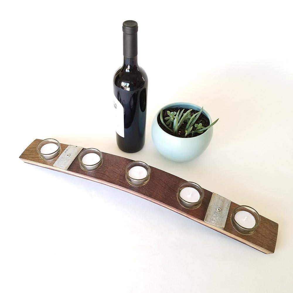 Wine Barrel Tea Light Candle Holder Handmade with Napa Valley Red Wine Barrel Stave /& Metal Hoop INCLUDES GLASS /& CANDLES