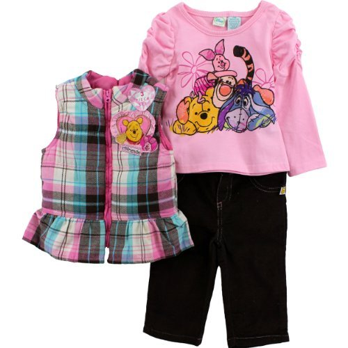 (Disney Baby Girls' Winnie The Pooh 3 Piece Vest Set, Big Cherry, 12 Months)