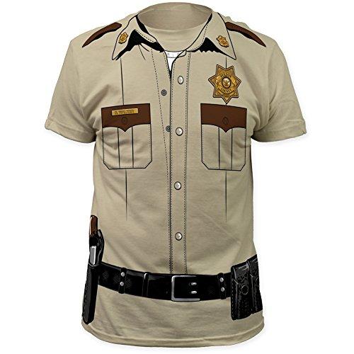 Impact Original Costume Design Sheriff Print on a Men's Slim Cotton Shirt X-Large Beige